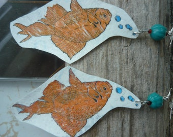 Golden Koi/Goldfish Earrings. Fused Plastic: Made from Recycled Plastic Bags