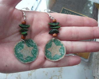 Green Star Earrings. Fused Plastic, made from recycled plastic bags
