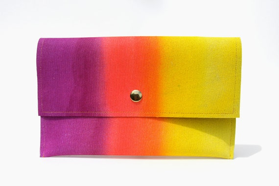Clutch wallet in sweetzero12- Fluorescent purple, hot pink, and lemon yellow gradient airbrushed faux leather