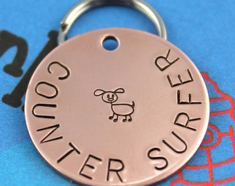"Custom Copper Dog Tag -  Personalized Dog Name ID Tag - ""Counter Surfer"""