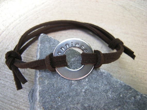 Special Listing for Jil, 4 Personalized Washer Bracelets, Hot Pink Suede cord bracelet, Stamped washer bracelets