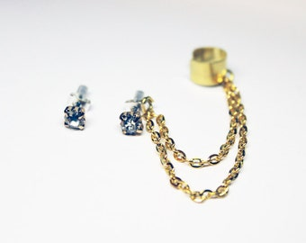 Gold Rhinestone Crystal Studs Chain Cuff Earring Set