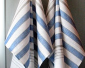 Linen Cotton Dish Towels - Tea Towels set of 2 White Blue