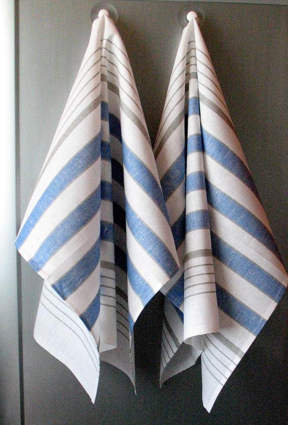 Linen Cotton Dish Towels - Tea Towels set of 2 White Blue
