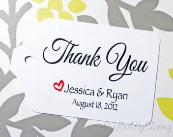Custom Thank You Wedding Favor Tags - White Cardstock