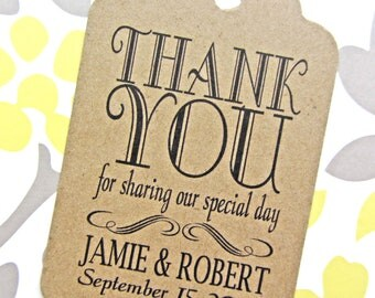 Custom Thank You Wedding Favor Tags - Kraft Cardstock