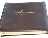 1950s Vintage Brown Leather MEMORIES Photo Album, Family Tree New Births Stork Cartoons Drawings Scrapbook