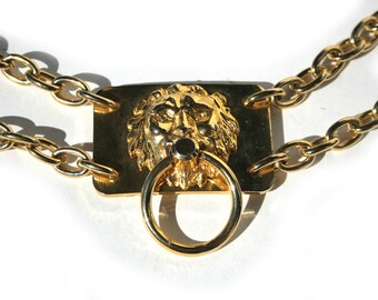 Lion Head Door Knocker Vintage Gold Metal Belt - Necklace Interlocking Double Chain Huge Bold Medallions Adjustable Disco Rocker