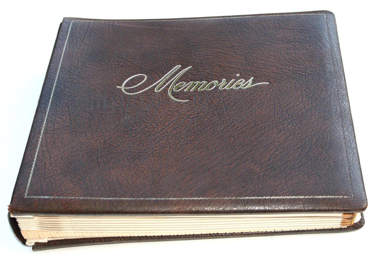 1950s Vintage Brown Leather Memories Photo Album Family Tree