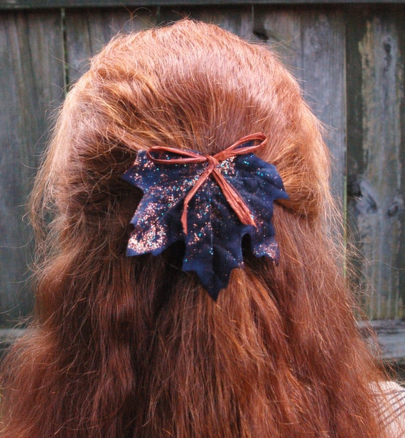 Halloween Glittering Leaves Wicked Hair Barrette in French Style