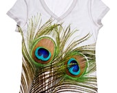 peacock feather print  top XS- Plus size (31)