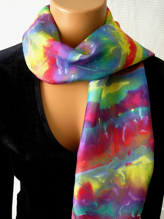 A Rainbow of Colors Silk Scarf. Hand Painted Colorful Silk Scarf. 8x54 inch Silk Scarves in Unique Melding of Colors.