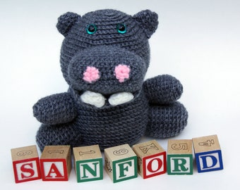Sanford the Hippo Crochet Amigurumi Stuffed Animal