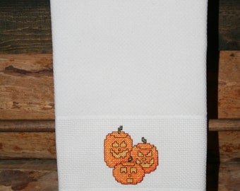 Halloween Huck Towel with Cross Stitched Pumpkins.