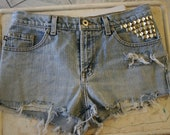 Distressed and Studded Denim Shorts