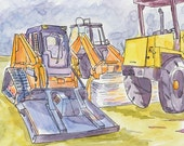 Equipment Illustrations - Paintings - Small Art - Construction Trucks Painting - Skid Steer - Kids Art - Illustration- Painting