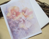 art card, poppies, greeting card, golden poppies, blank card, watercolor, pink, purple, floral, flowers, note card