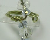 Toe-dally Crystal Toe Ring, size 6 adjustable toe ring, Blue and Clear Crystals on gold wire perfect summer foot jewelry