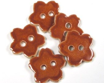 Brown Flower Buttons - Glossy Cocoa Brown Ceramic Button Almost 1 Inch - Set of 5