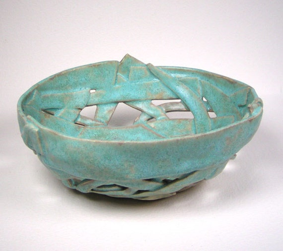 Turquoise Ceramic Lattice Bowl Pieced Orchid Pot Decorative