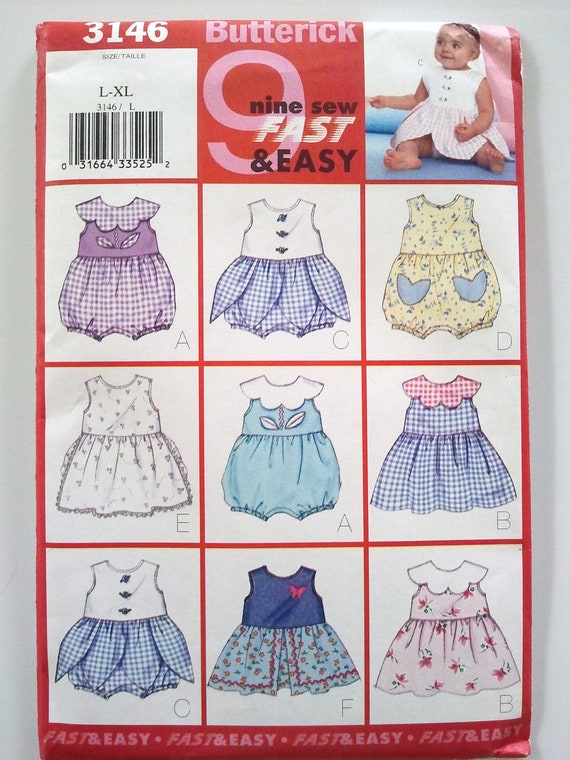 Butterick 3146, Infants Romper and Dress, Size Large to Extra Large