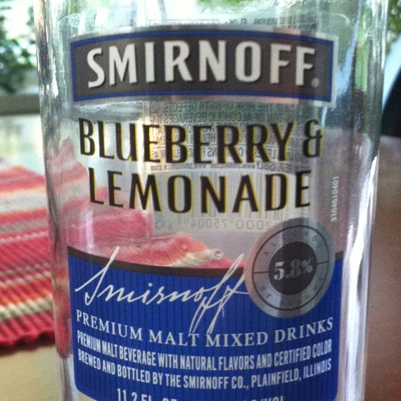 Custom Scented Candle in Upcycled Blueberry & Lemonade Smirnoff Bottle