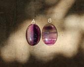 2pcs  Fluorite multicolor gemstone cabochons lot OVAL