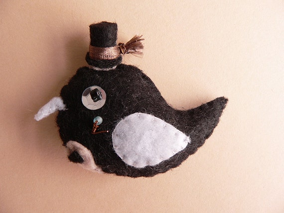 Bride or Groom bird pin button made from felt decorated with beads and buttons. Made to order.