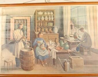 Vintage Belgian School Chart of Potter's Workshop