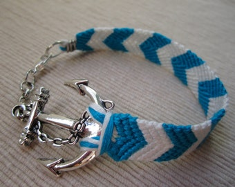 Turquoise and White Chevron Anchor Charm Friendship Bracelet