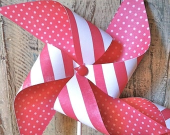 Pinwheels- RED stripes collection - Set of 6 Red and White Striped Paper Pinwheels