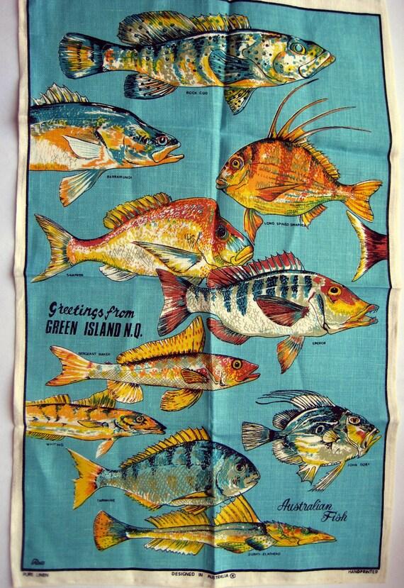 Vintage Australian Linen Tea Towel Australian Fishes UNUSED