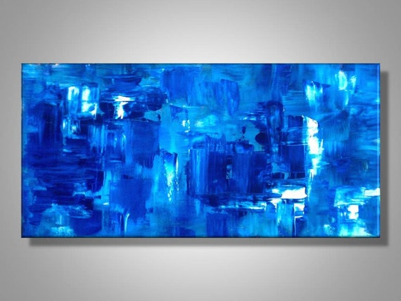 Original Abstract Painting Modern Art Blue White By Made To