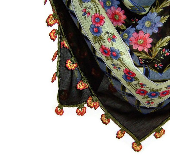 Traditional Turkish Yemeni Cotton Scarf With Lace, Black / Yellow / Pink / Blue Floral Pattern