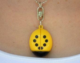 Ladybug Necklace Yellow Plastic Toy Repurposed Light