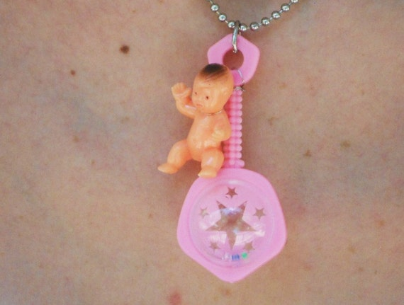 Baby Girl Rattle Necklace Plastic Toy