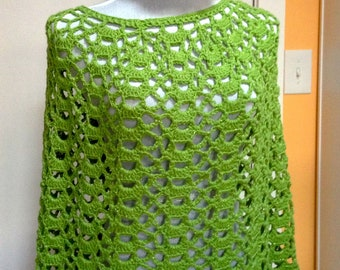 Green Bobble Poncho and Hat Set