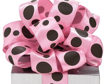 PINK with BROWN PolKa DoT SATIN RiBbOn -   FaNcY Sheer Wired Ribbon   Pretty Packages and Gifts - Hairbows - Giftwrap - Bows