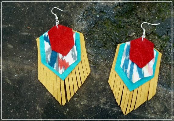 Gold Ear Shields: Suede and Fabric Geometric Fringe Chevron Earrings -- FREE SHIPPING