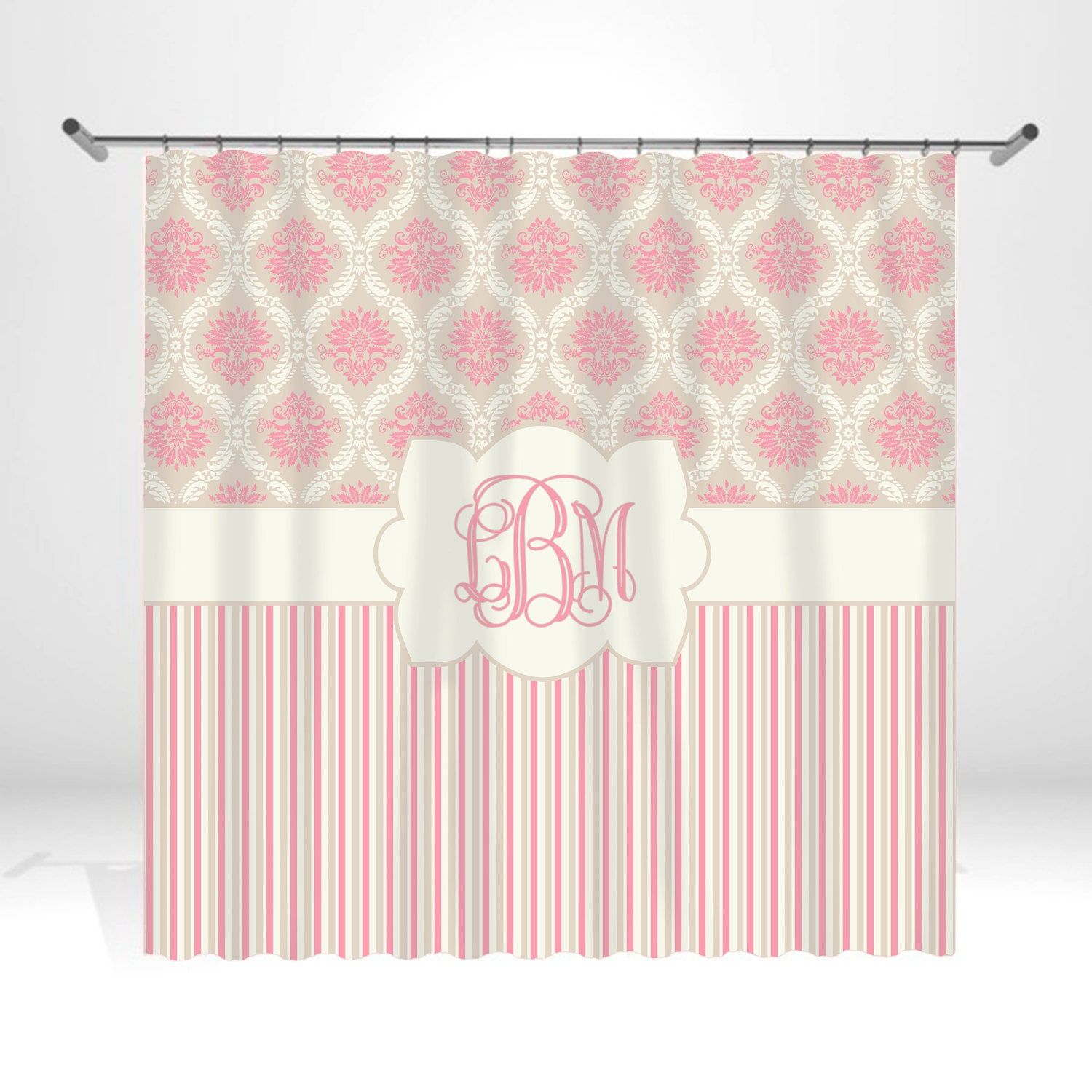 Pale Pink Damask Personalized Custom Shower Curtain Monogram