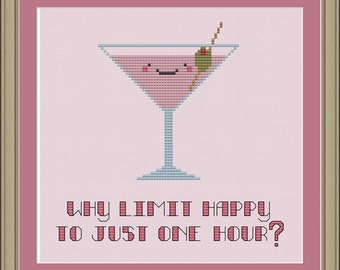 Why limit happy to just one hour: cute martini cross-stitch pattern