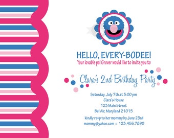 Girlie Grover Birthday Party Invitation