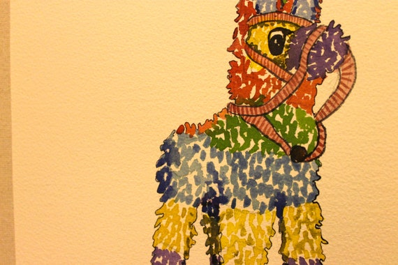 Original Piñata Watercolor Painting