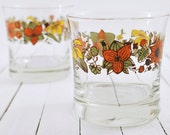 Set of 2 Tumblers, Orange Green Yellow Flowers, Floral Glasses 1970's
