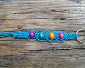 Turquoise Hemp Keychain with Multi-Colored Beads