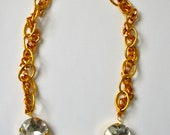 """Peony Gold Chain and Large Crystal Necklace- 19"""" XXX currently out of stock, back in September 15"""