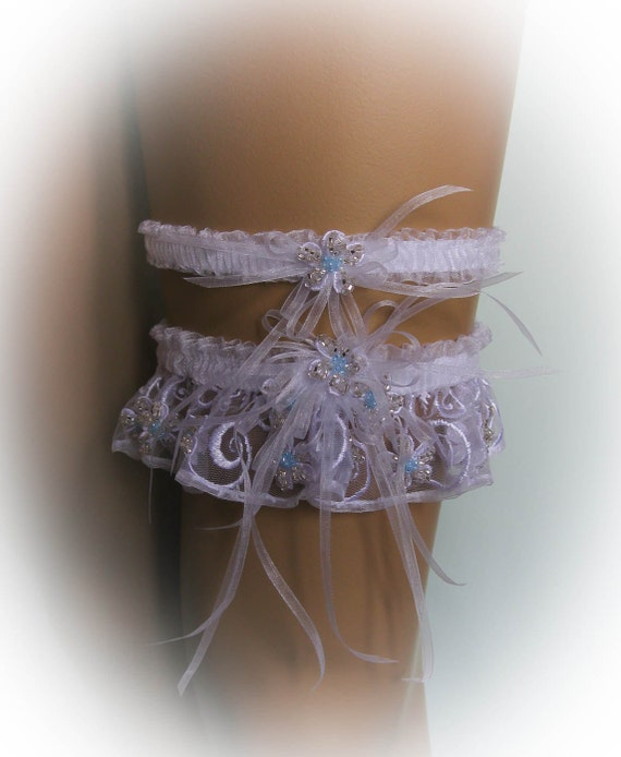 Unique Wedding Garter Set With Lace And Crystal By