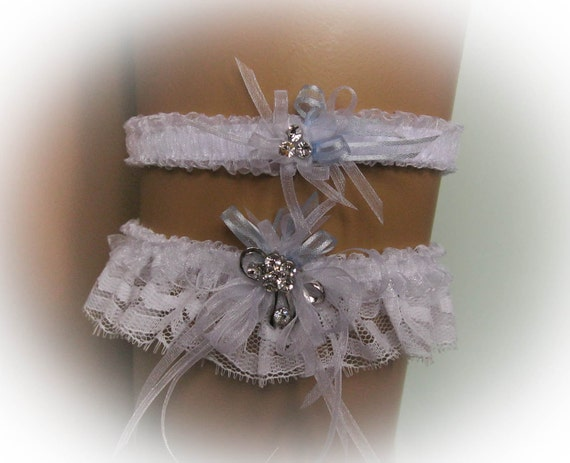 White Lace Wedding Garter Set with a Crystal Decorated Brooch