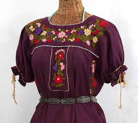 "Mexican Peasant Dress Hand Embroidered: ""La Antigua"" Plum"