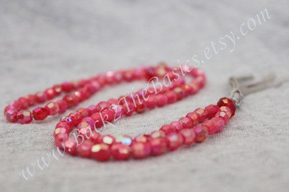 Misbaha Tasbih Islamic Prayer Red Iridescent Beads Red Swarovski Accents on Grey Cord Long 99